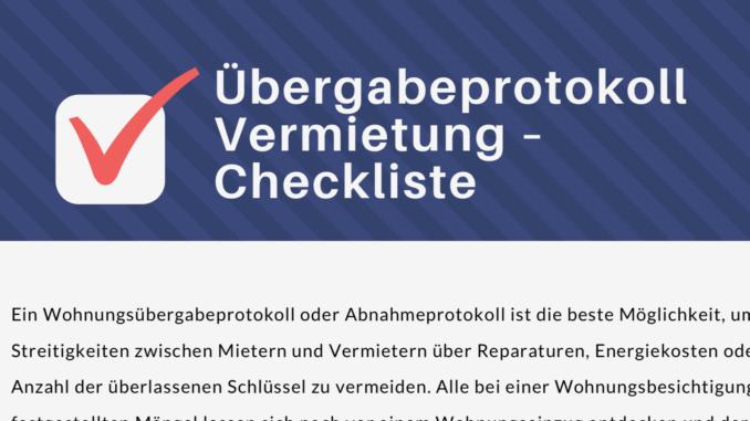 checkliste uebergabeprotokoll vermietung