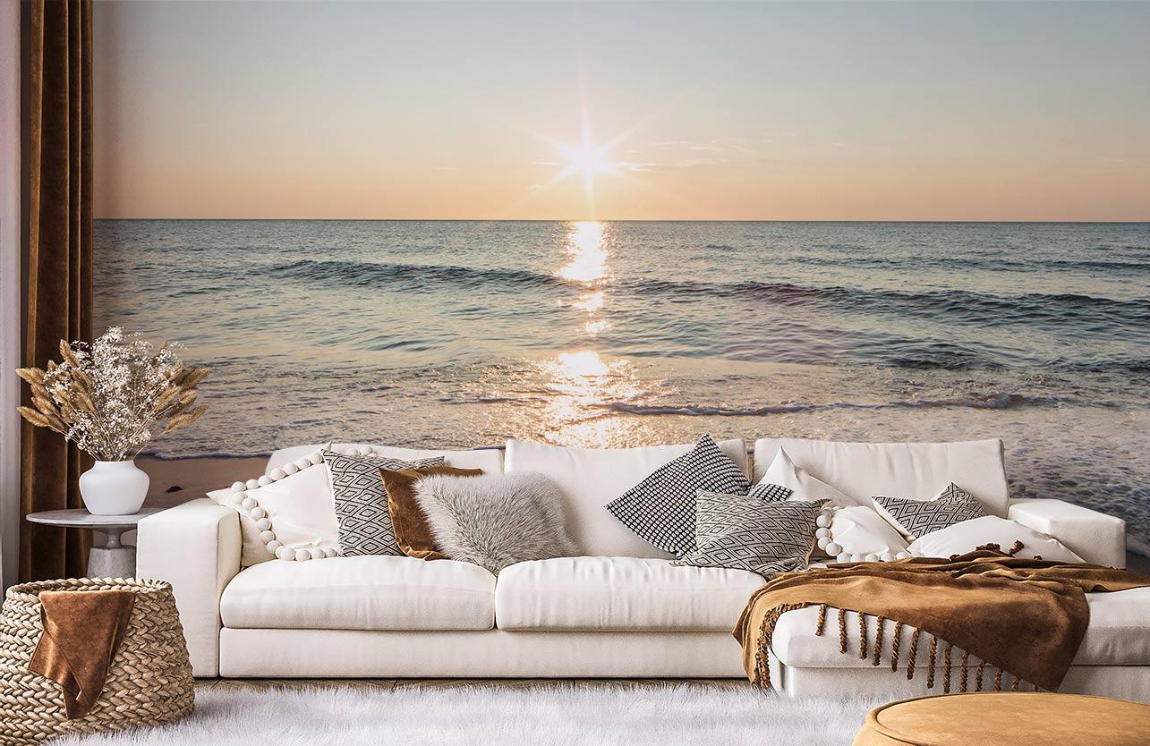 Fototapete Meer beim Sonnenuntergang im Wohnzimmer