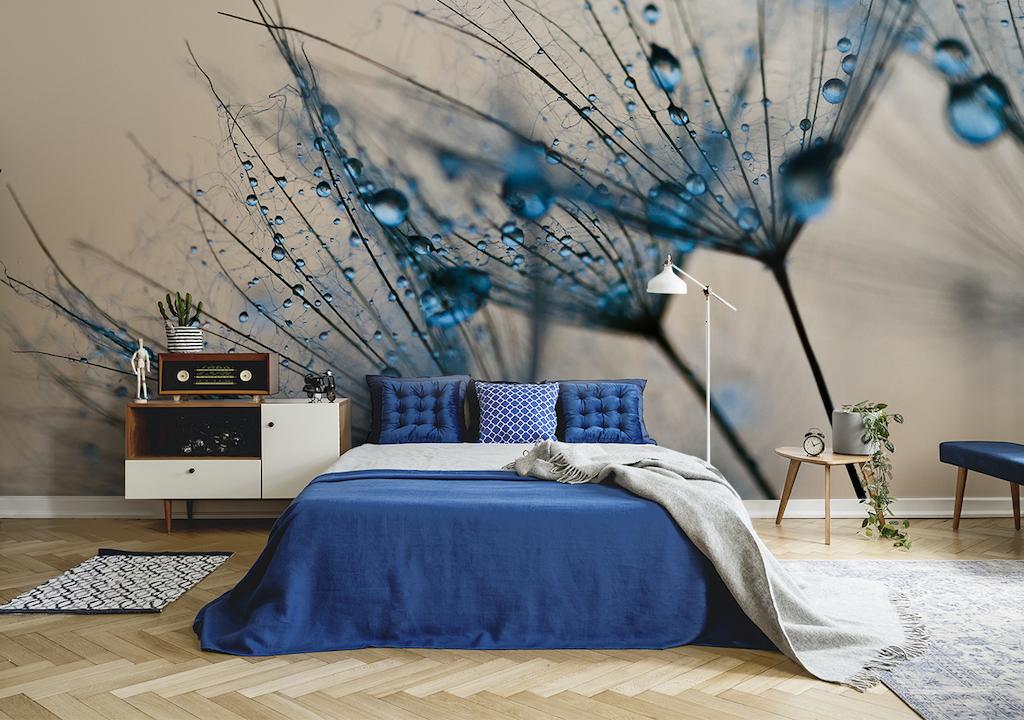 Türkisfarbene Pusteblume als Fototapete im Schlafzimmer